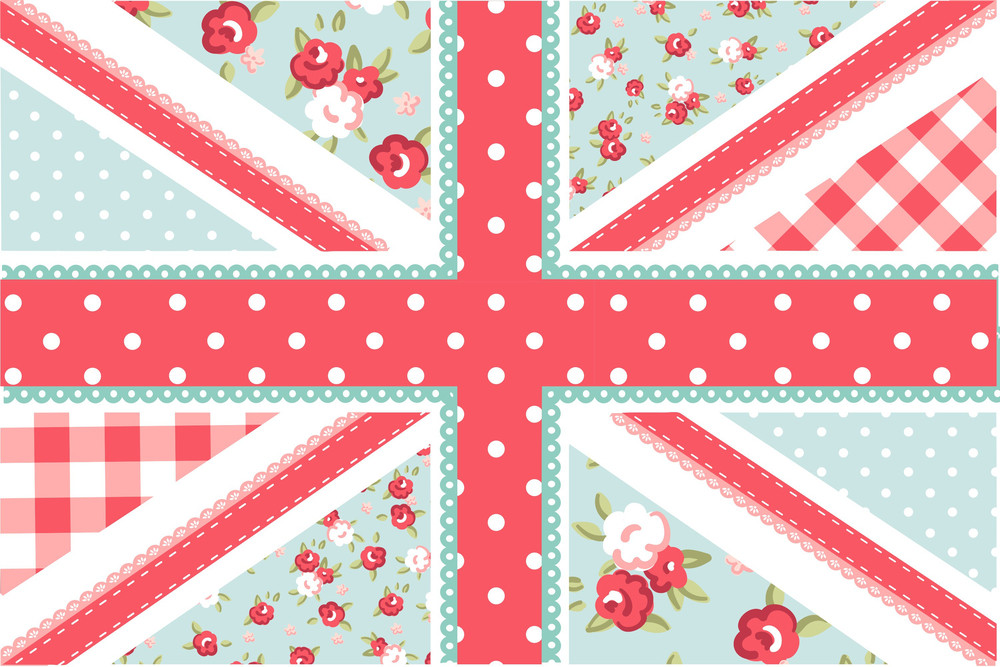 Cute British Flag In Shabby Chic Floral Style