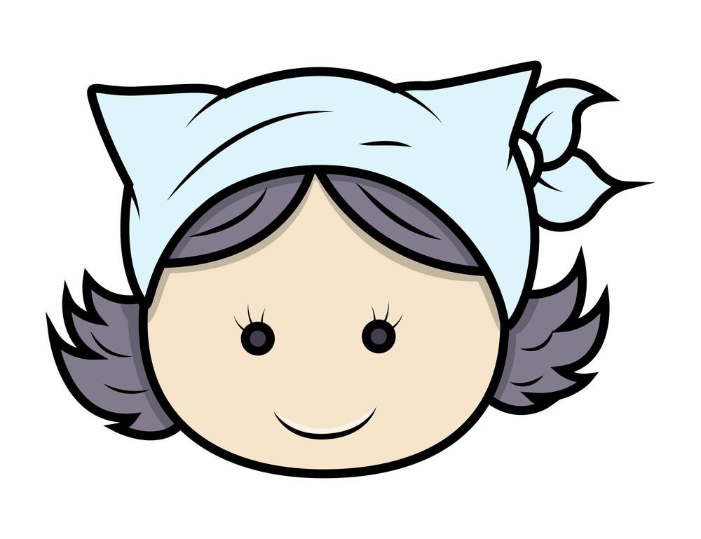 Cute Cartoon Kid Girl Face