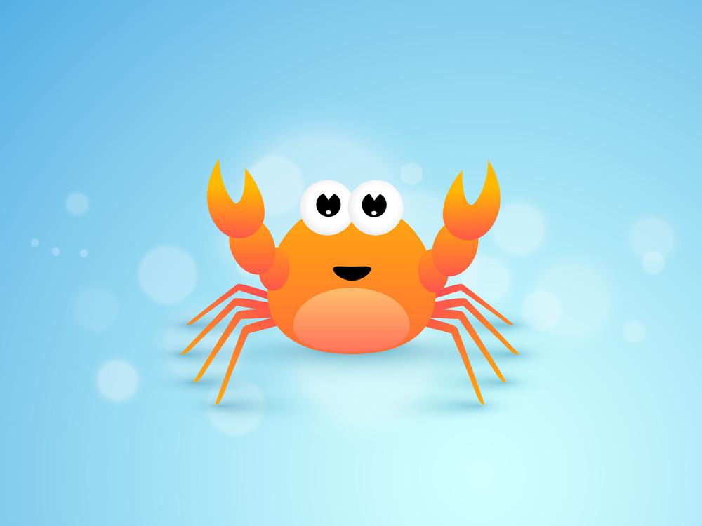 Cute Cartoon Of Crab.