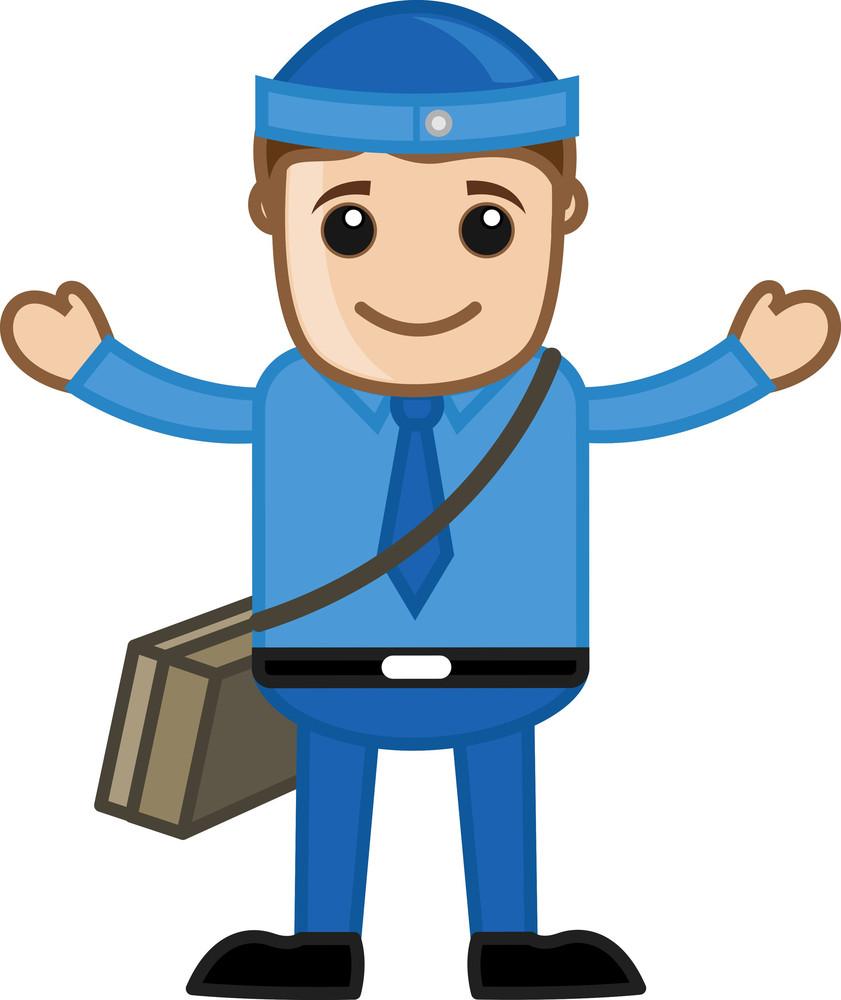 Cute Cartoon Vector Postman Raising Hands