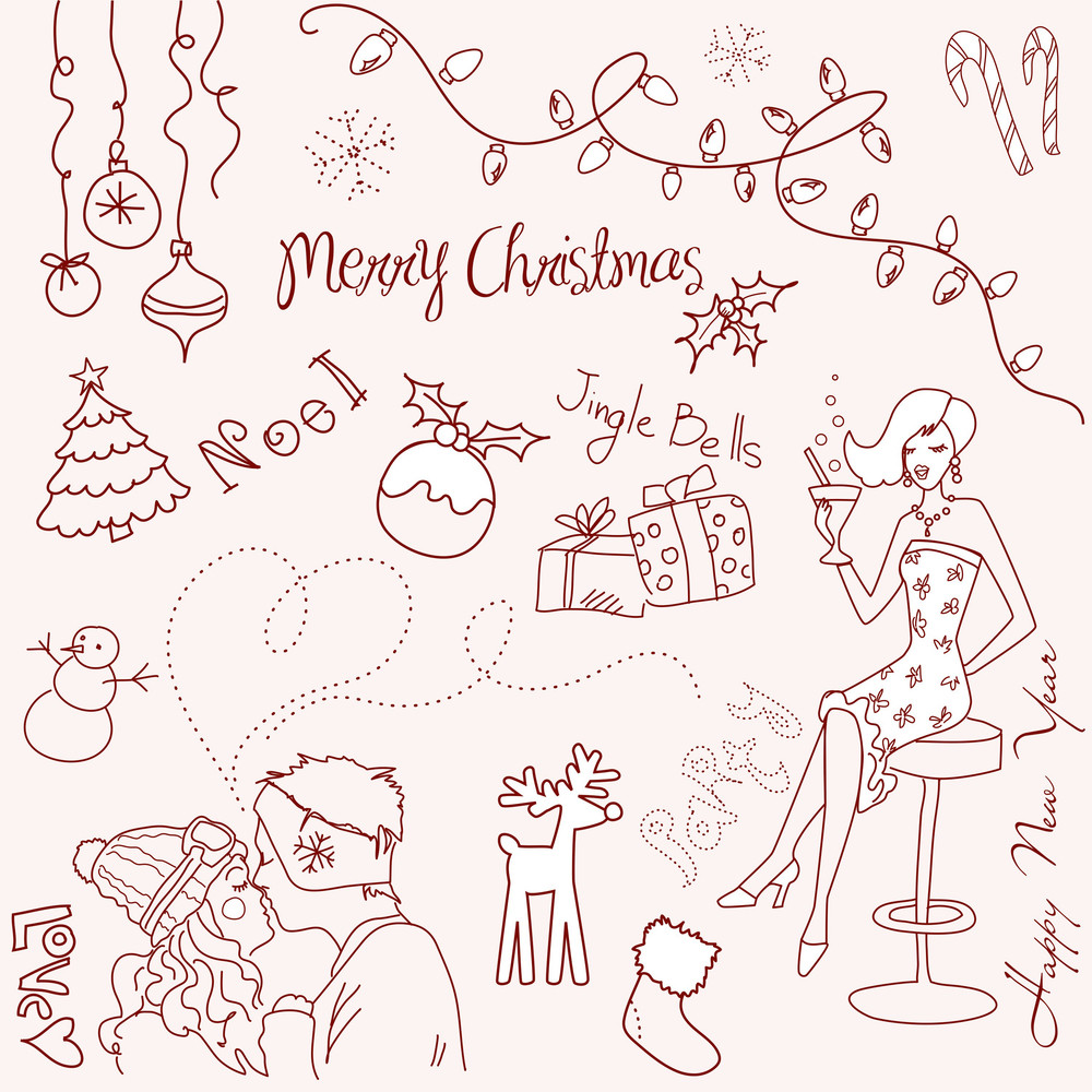 Cute Christmas And New Year Doodles