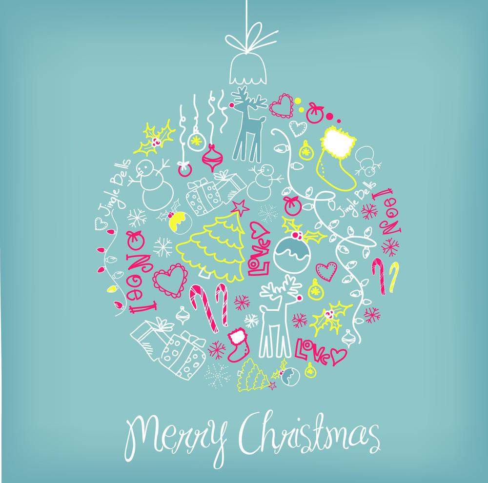 Cute Christmas Ball Illustration.