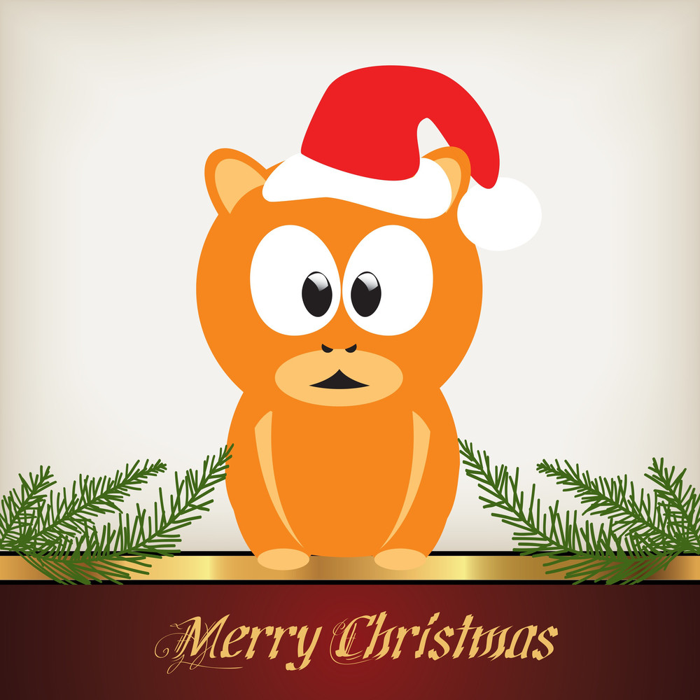 Cute Christmas Card - Cat Character