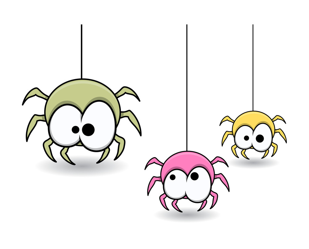 Cute Colorful Web Spiders - Halloween Vector Illustration