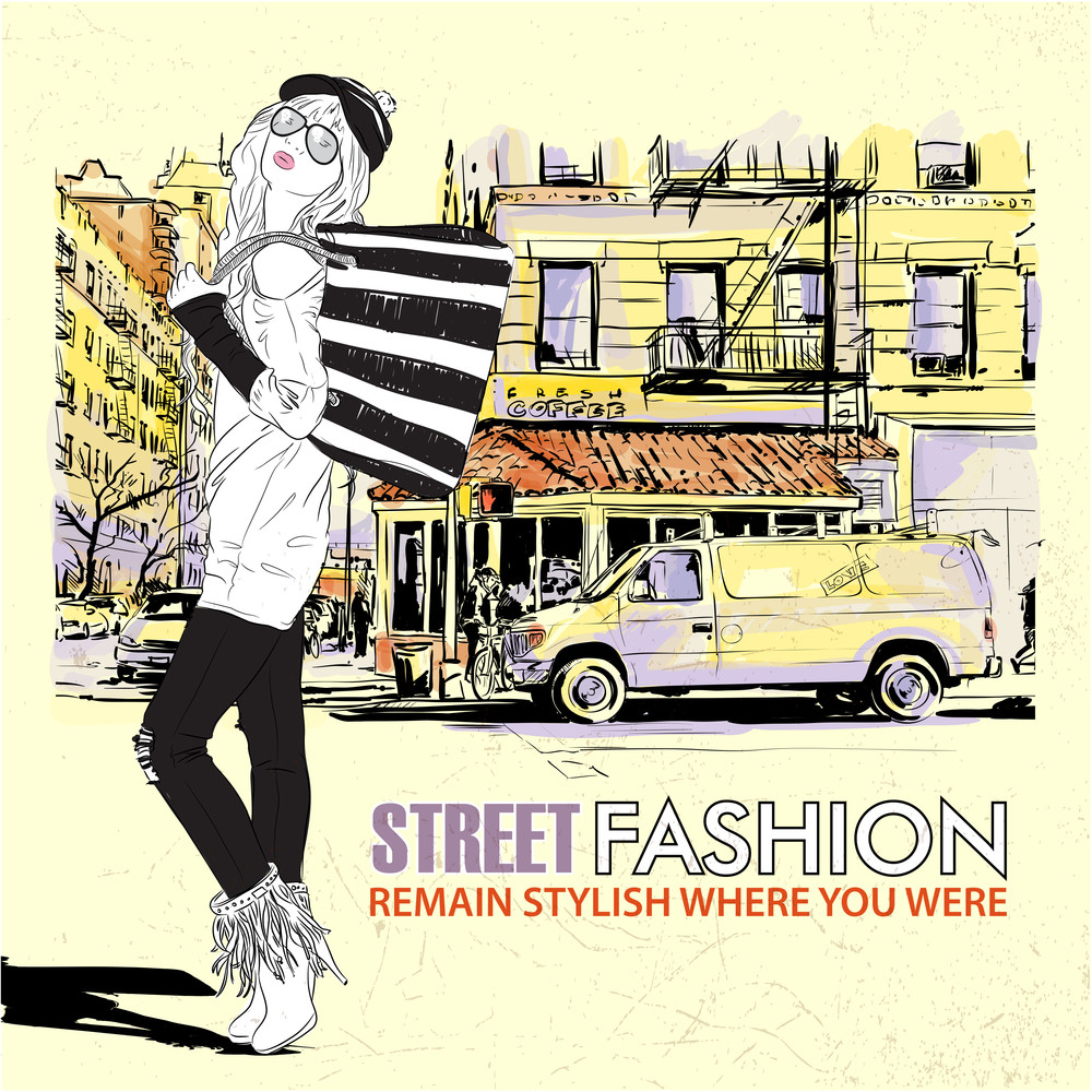 Cute Fashion Girl On A Street Background. Hand Drawn Vector Illustration.