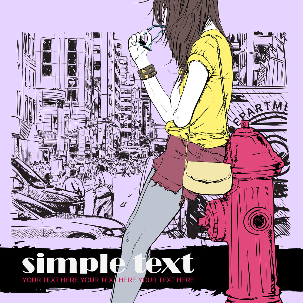 Cute Fashion Girl On A Street Background. Vector Illustration