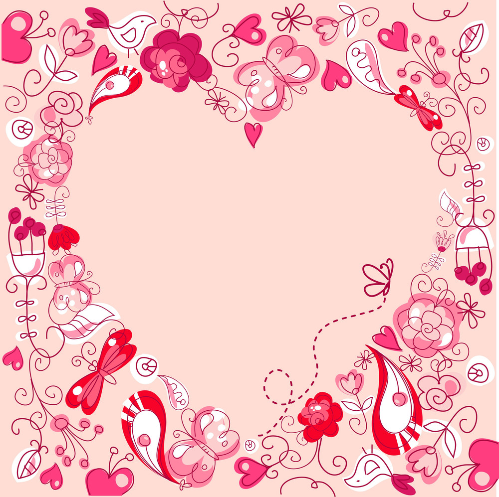 Cute Floral Background With A Heart Frame Royalty-Free