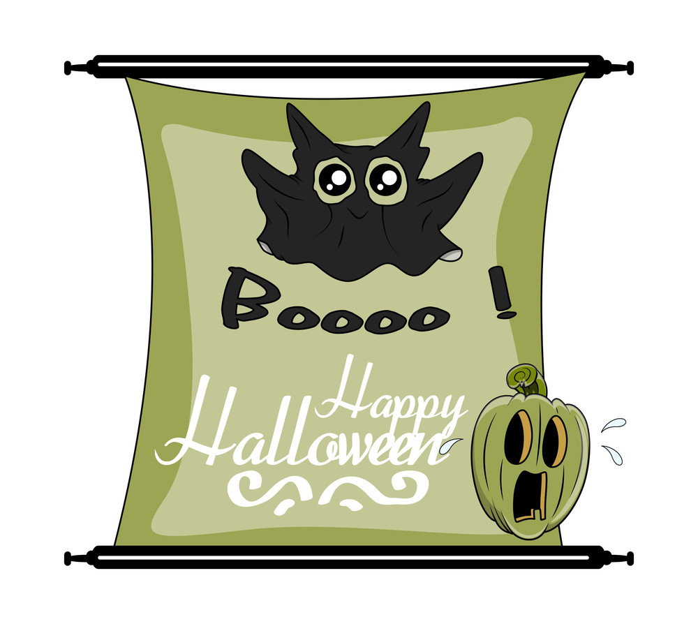 Cute Funny Ghost With Halloween Pumpkin