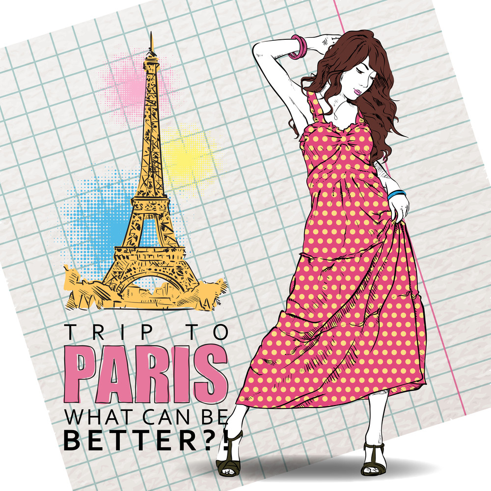 Cute Girl In Sketch-style On A French Background. Vector Illustration