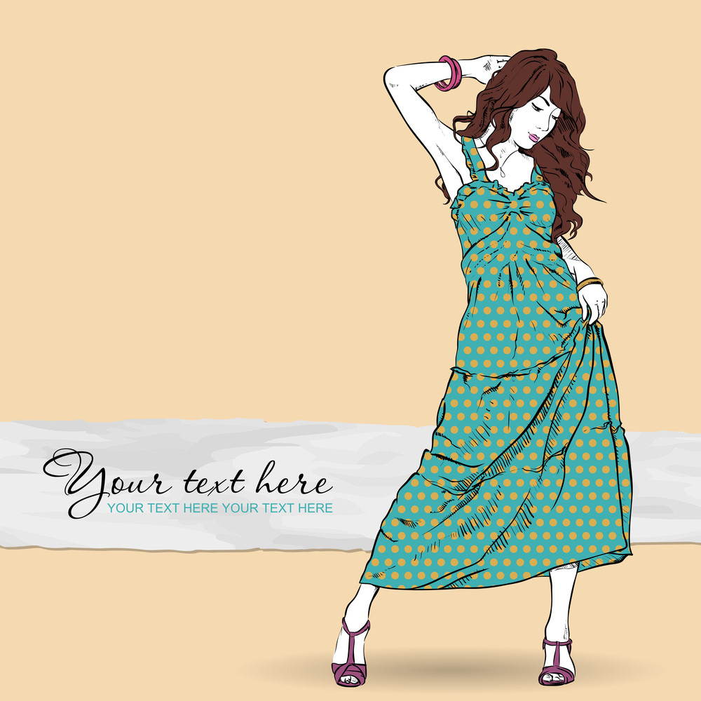 Cute Girl In Sketch-style On A Grunge Background. Vector Illustration