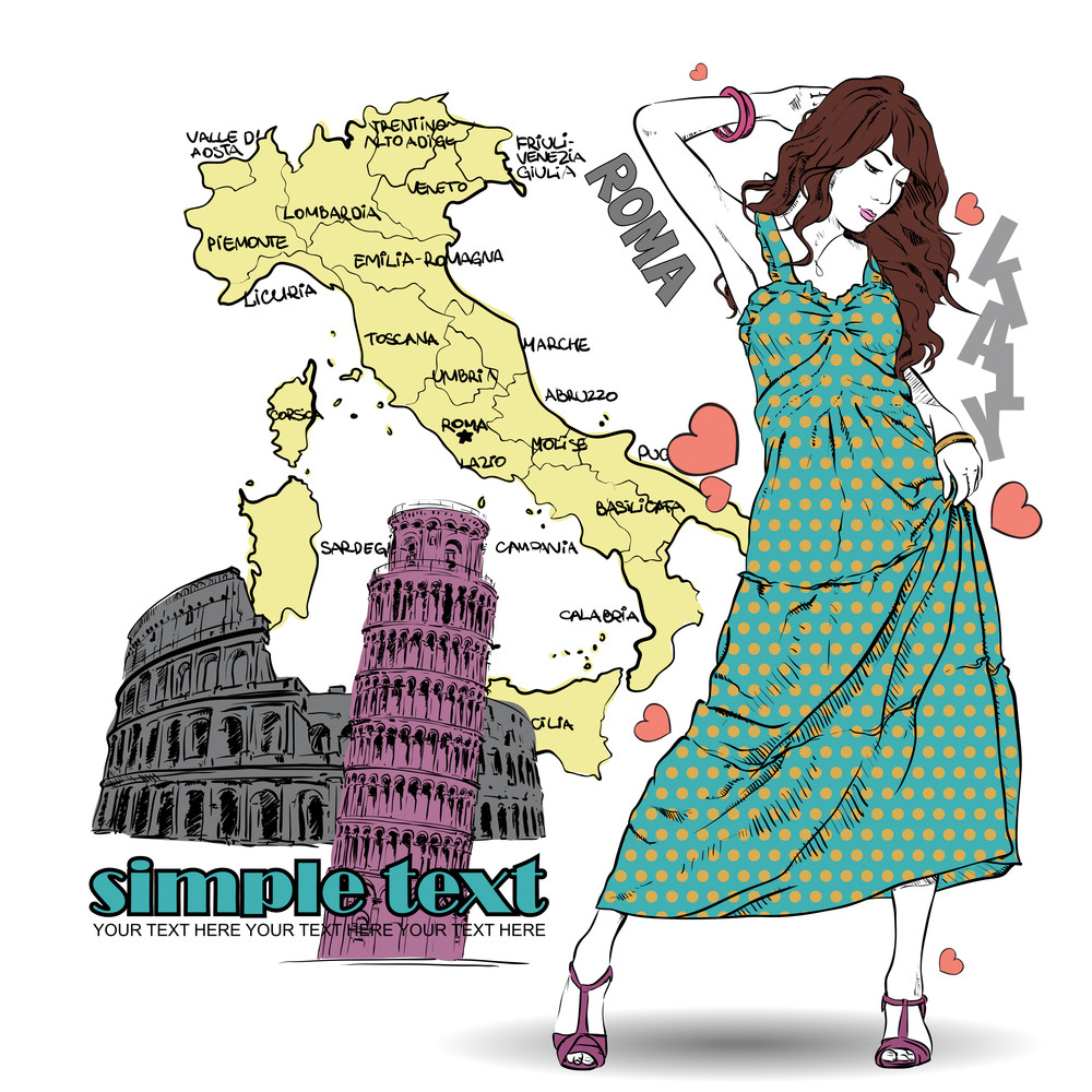 Cute Girl In Sketch-style On A Italien Background. Vector Illustration