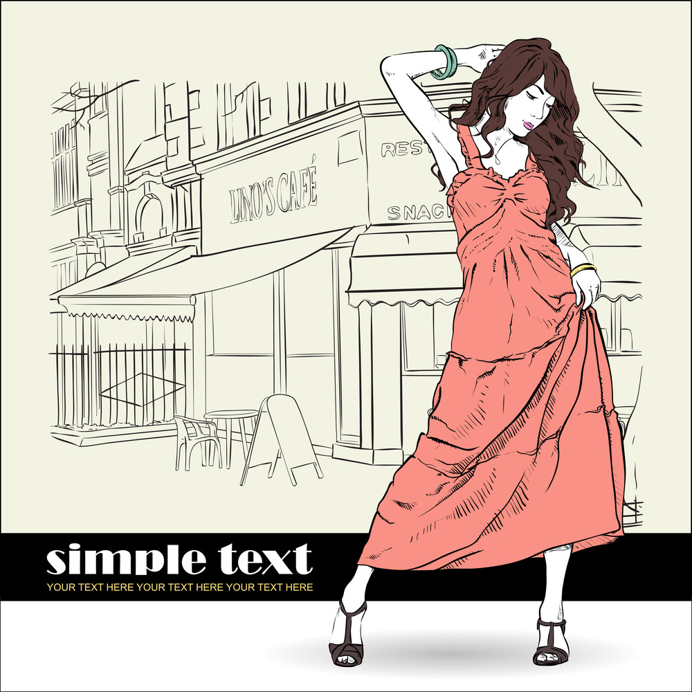 Cute Girl In Sketch-style On A Street-cafe Background. Vector Illustration