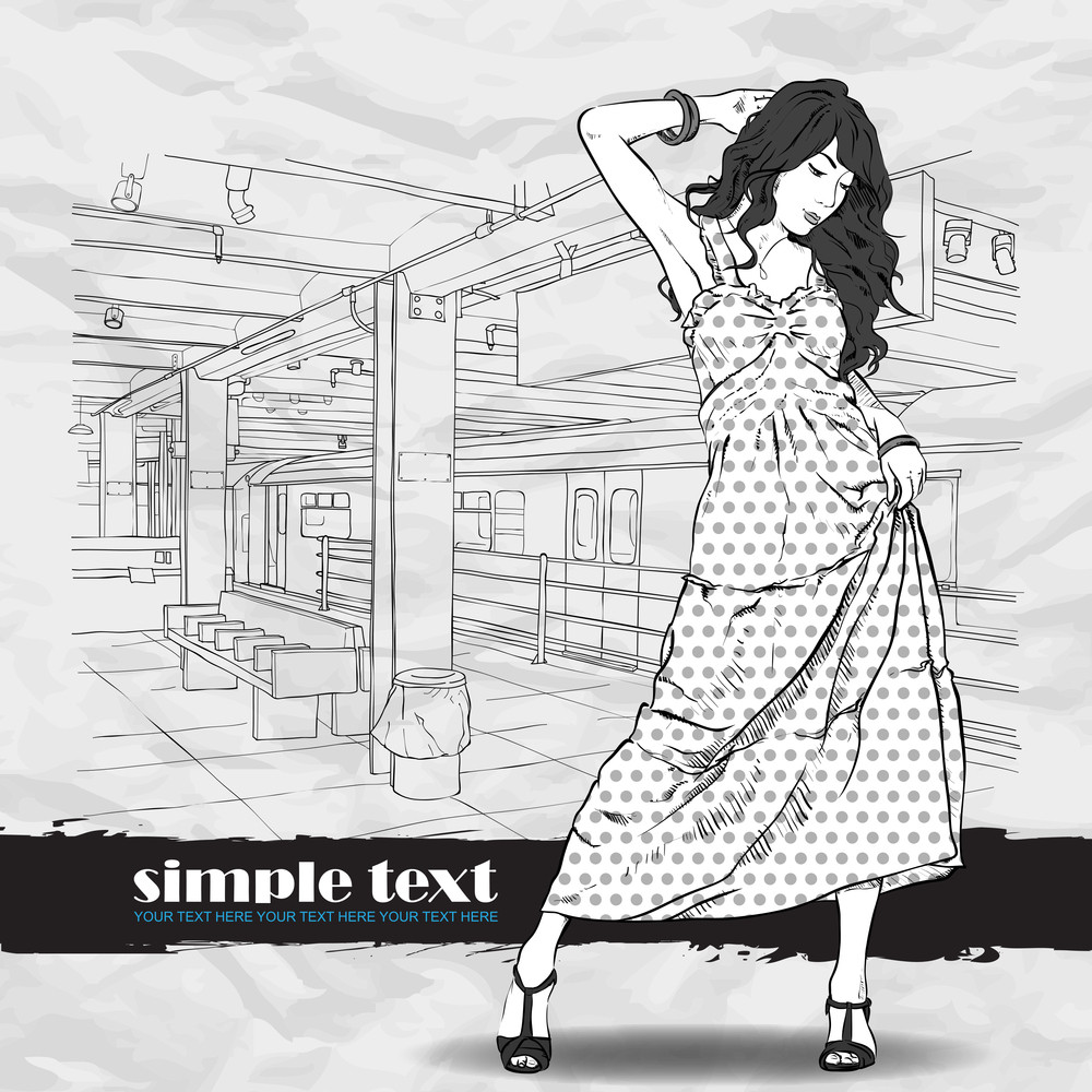 Cute Girl In Sketch-style On A Subway Station Background. Vector Illustration
