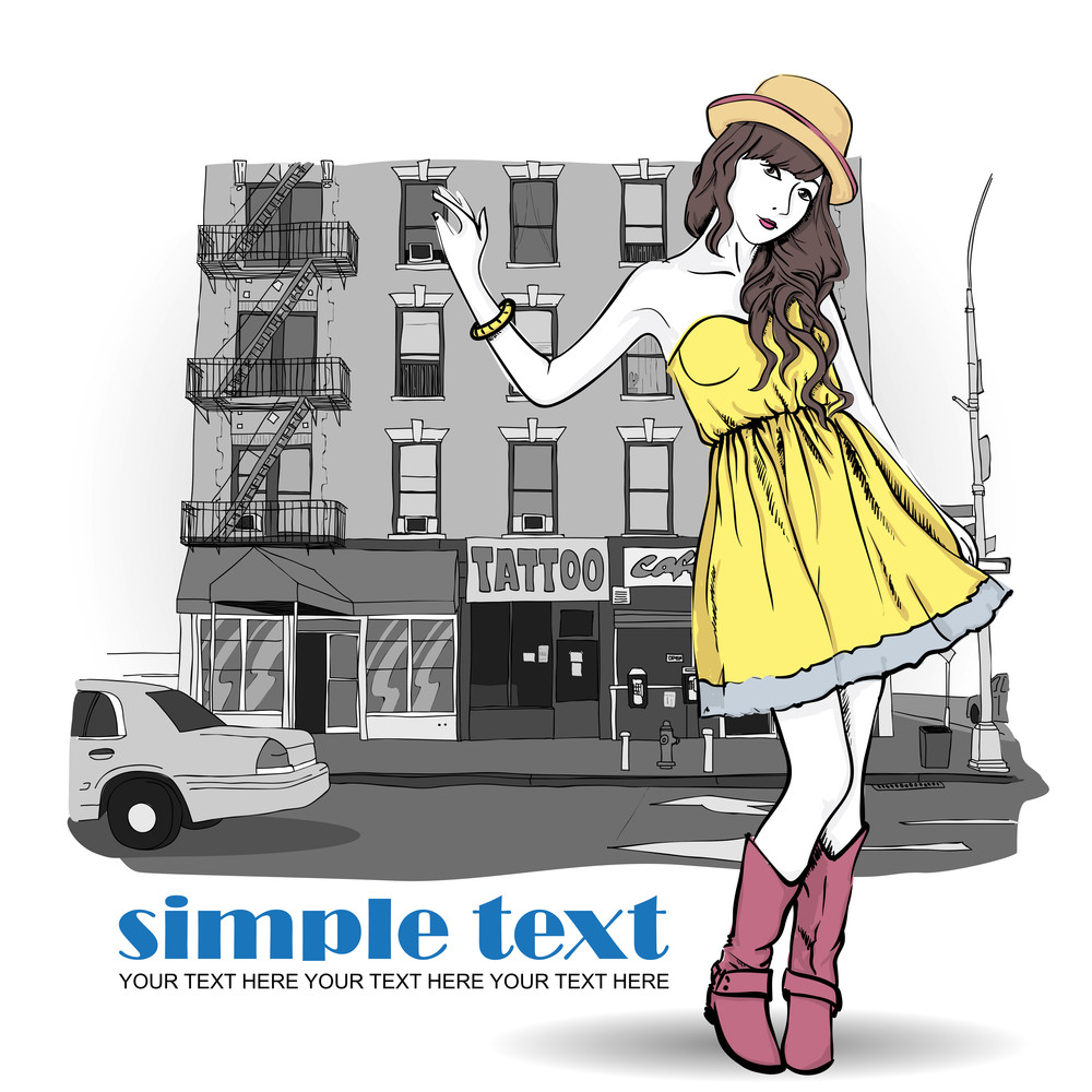 Cute Girl In Sketch-style On A Urban Background. Vector Illustration