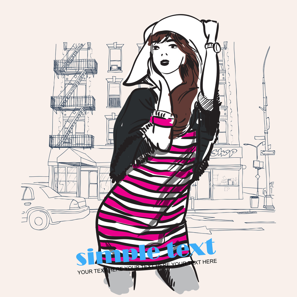 Cute Girl Wit Hut On A City-background. Vector Illustration.
