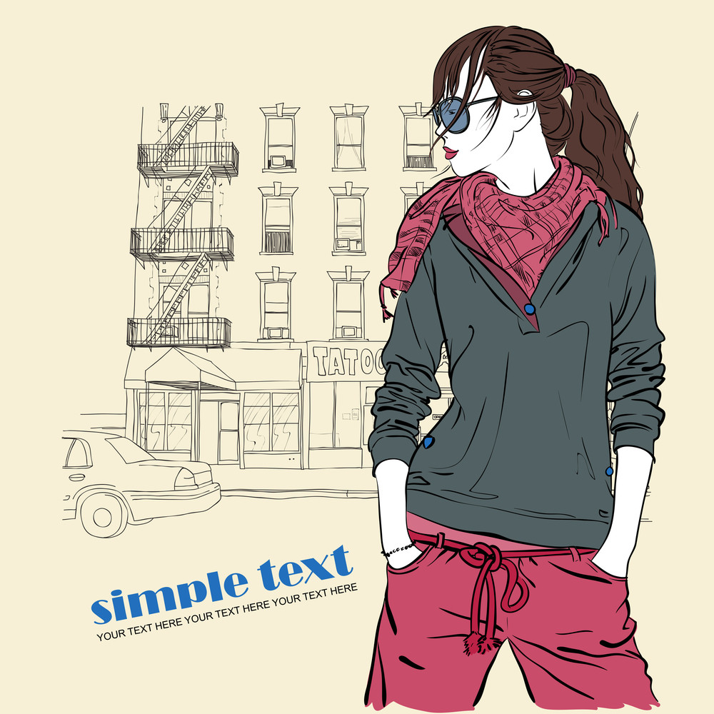 Cute Girl With Sunglasses On A City-background. Vector Illustration.