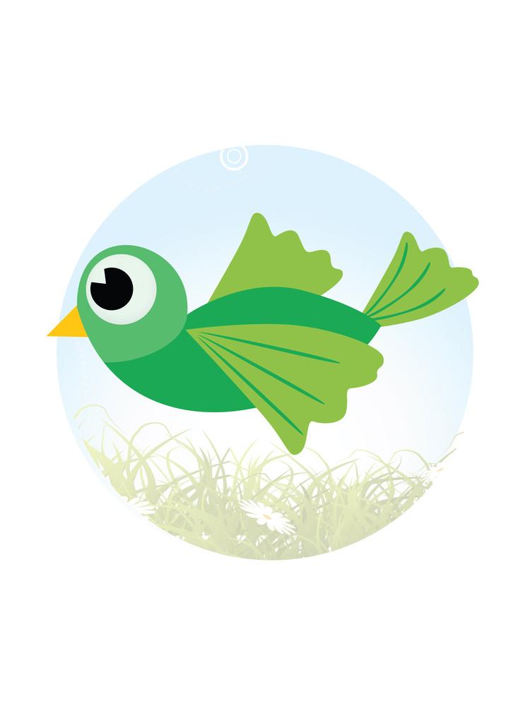 Cute Green Little Bird