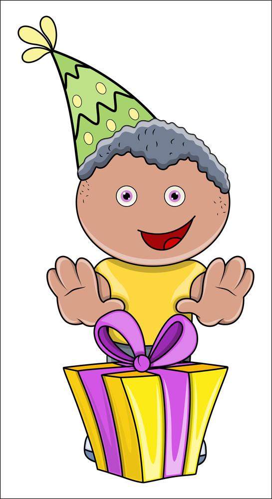 Cute Kid Birthday Boy With His Gift Box - Vector Cartoon Illustration