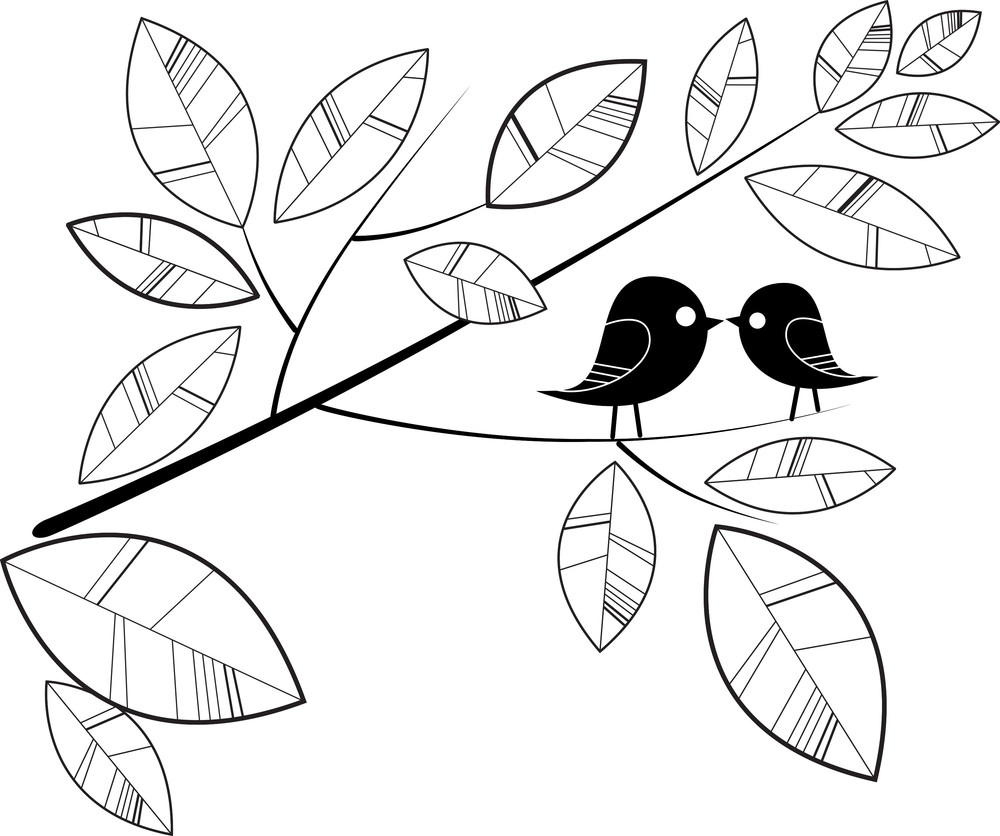 Cute Little Birds And Stylized Branch With Leaves