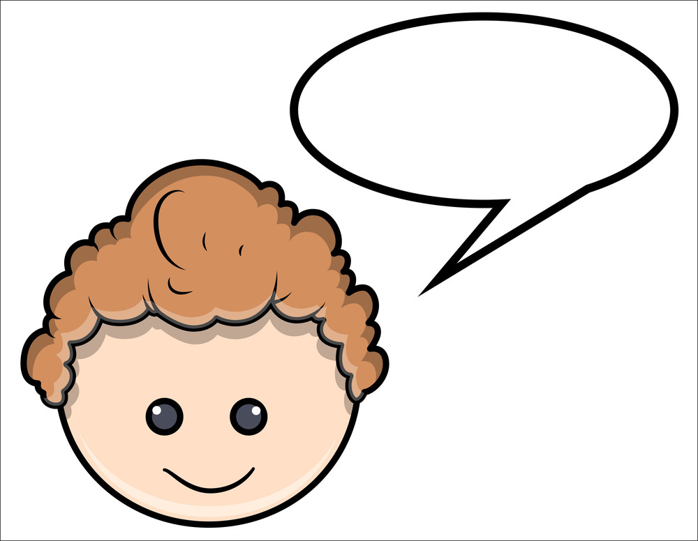 Cute Little Boy Speech Bubble - Vector Cartoon Illustration