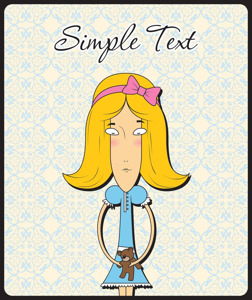 Cute Little Doll Girl With Taddy Bear. Vector Illustration.