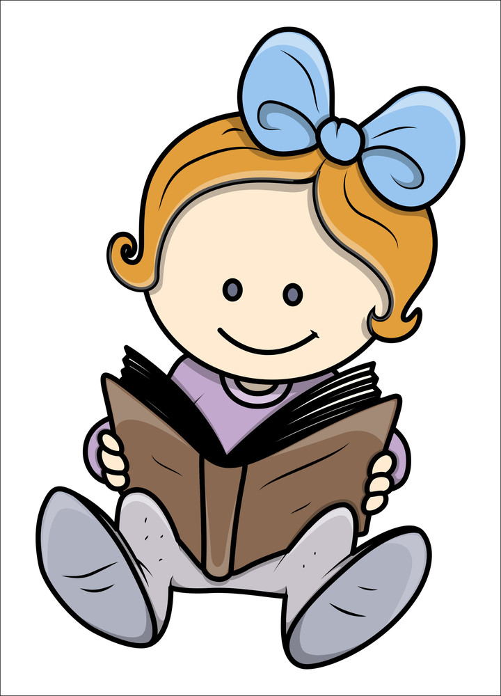 Cute Little Girl Reading A Book - Vector Illustrations