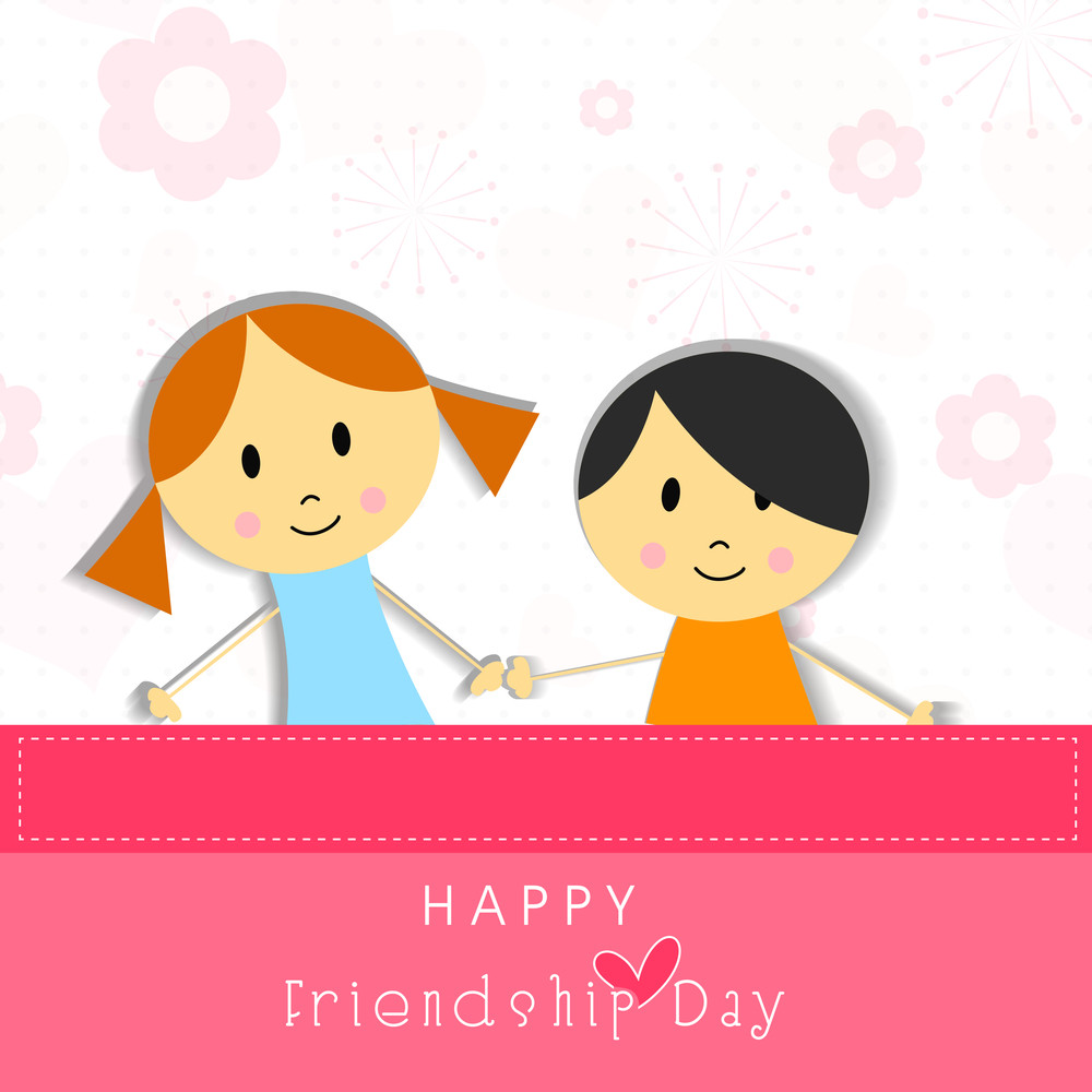 Cute Little Girls On Flower And Heart Decorated Background For Happy Friendship Day