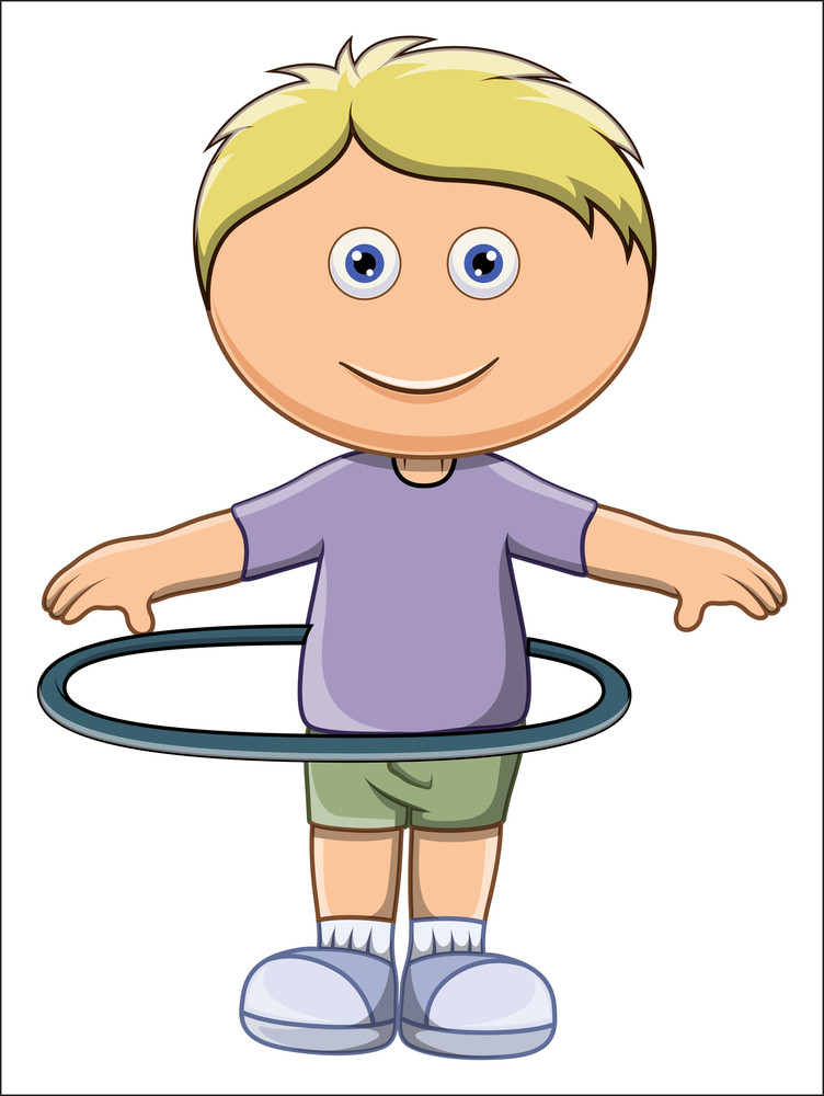 Cute Little Kid Doing Hula Hoop - Vector Cartoon Illustration