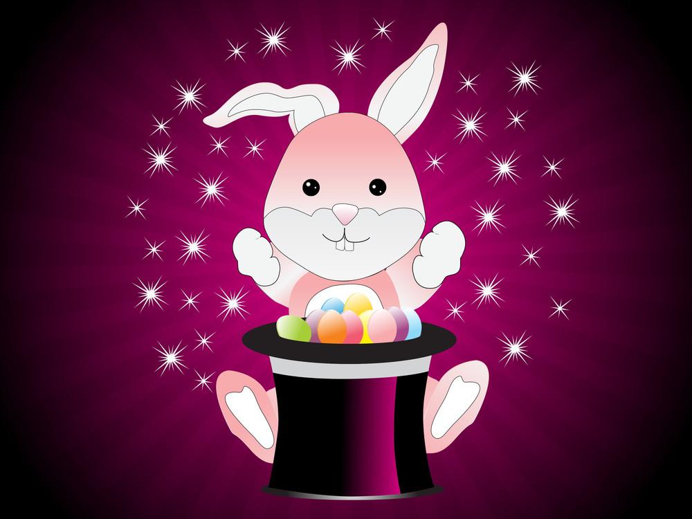 Cute Magic Bunny Rabbit Vector Illustration