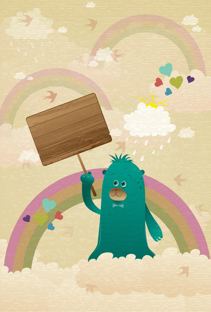 Cute Monster With Wooden Sign Vector Illustration