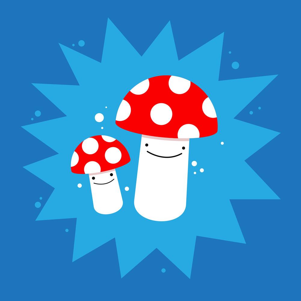 Cute Mushrooms On Blue Background