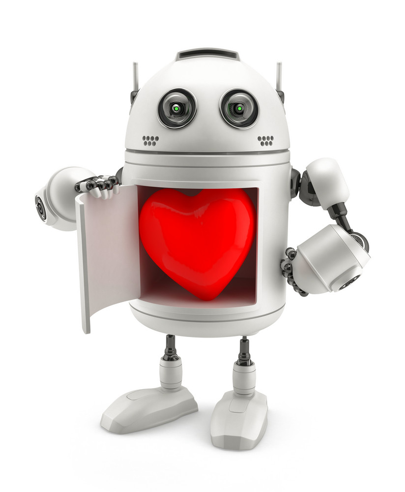 Cute Robot With Red Heart