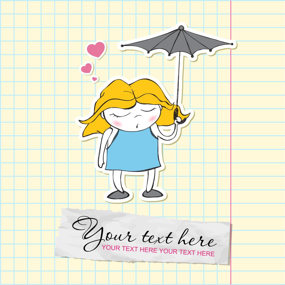 Cute Sleeping Girl With Umbrella In Cartoon Style. Vector Illustration.