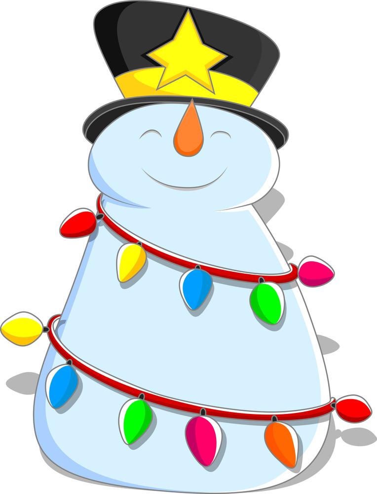 Cute Snowman - Christmas Vector Illustration