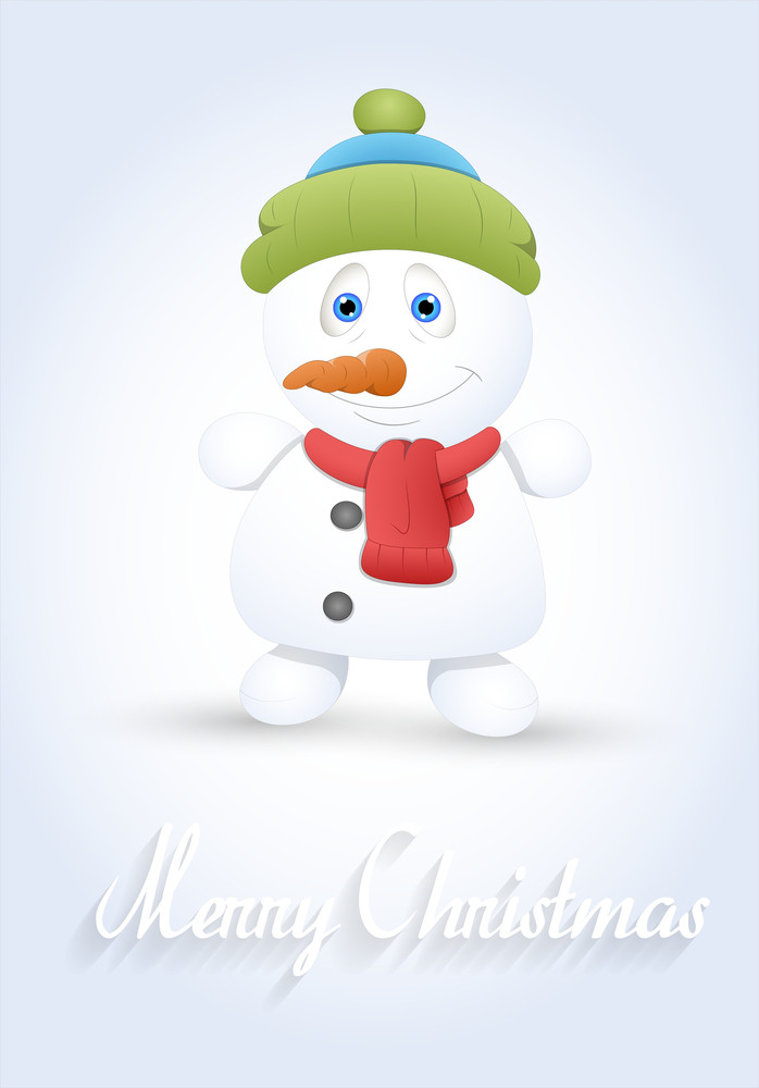 Cute Snowman Greeting Template Royalty-Free Stock Image - Storyblocks