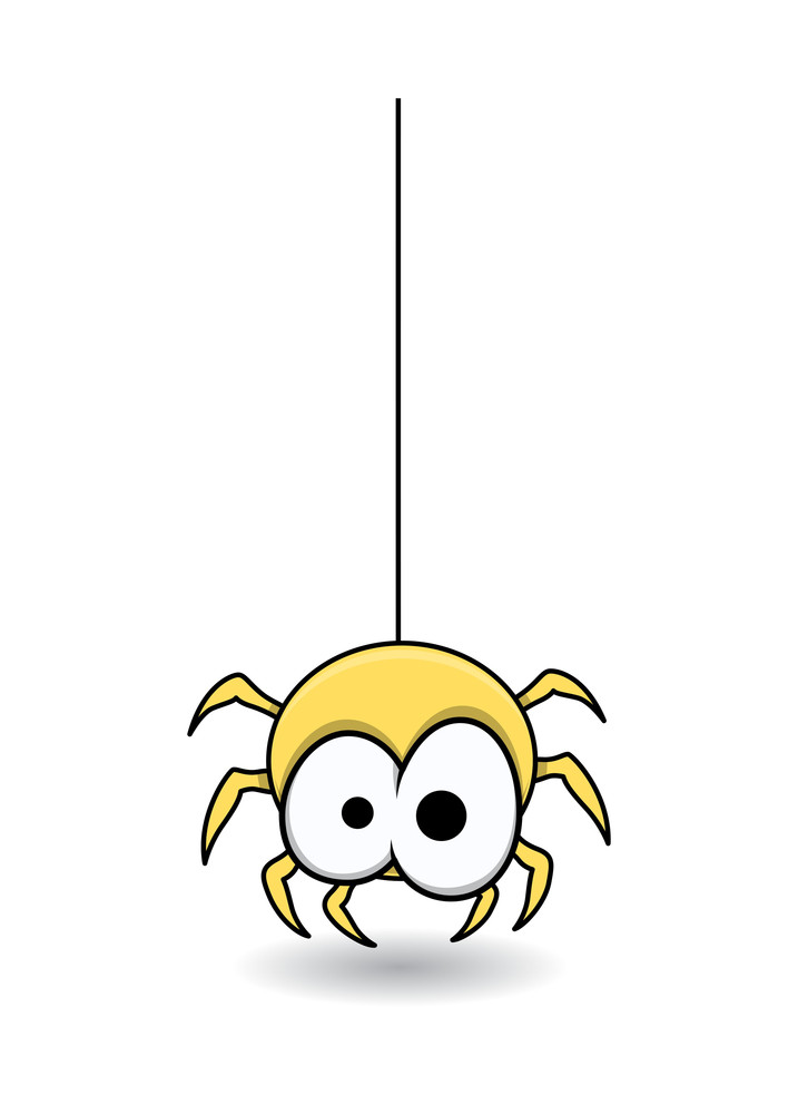 Cute Spider Hanging - Halloween Vector Illustration