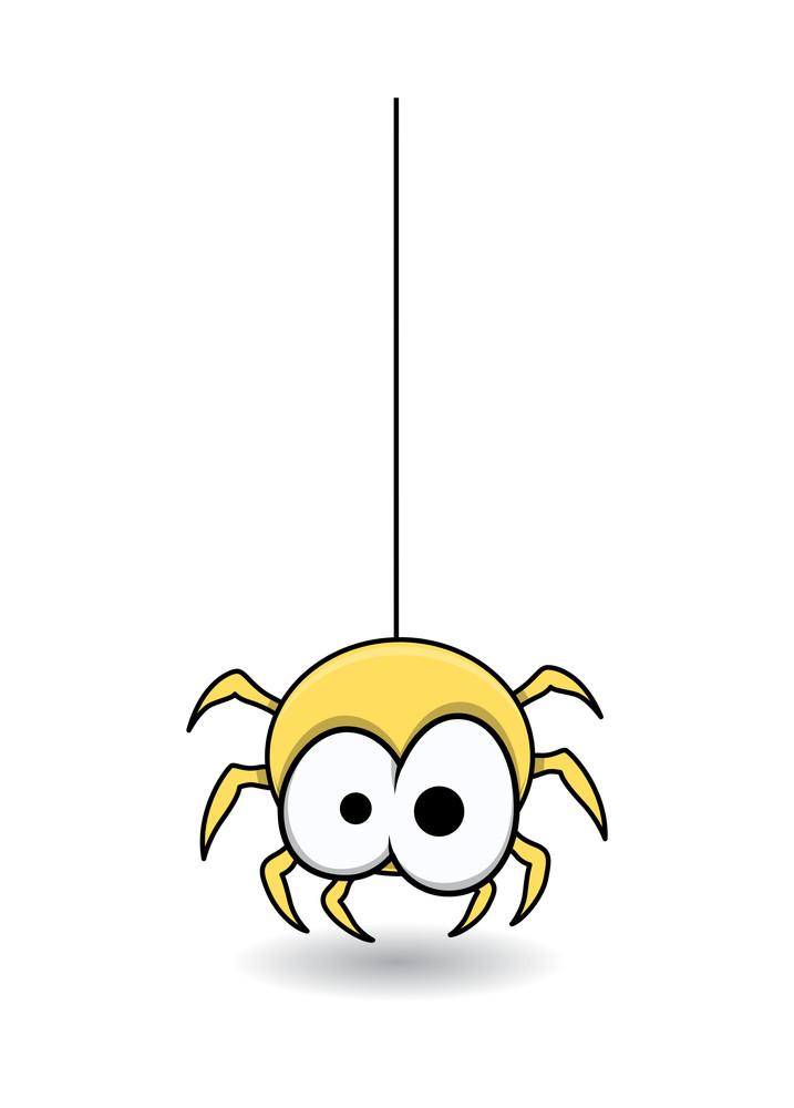 可爱的蜘蛛悬挂 - 万圣节矢量插图图片