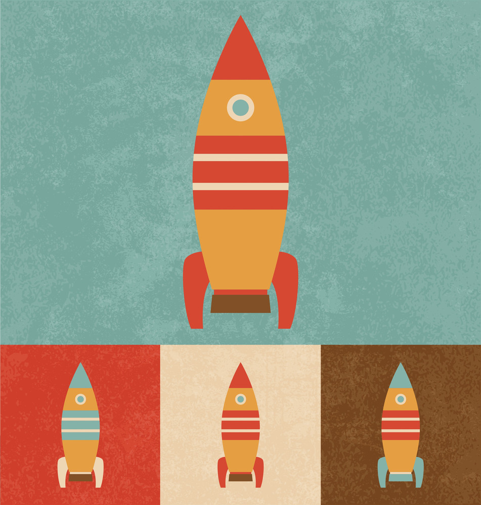Cute Toy Rocket | Cartoonish Design | Vintage Style