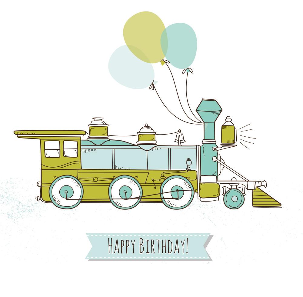 Cute Train Birthday Card For A Boy