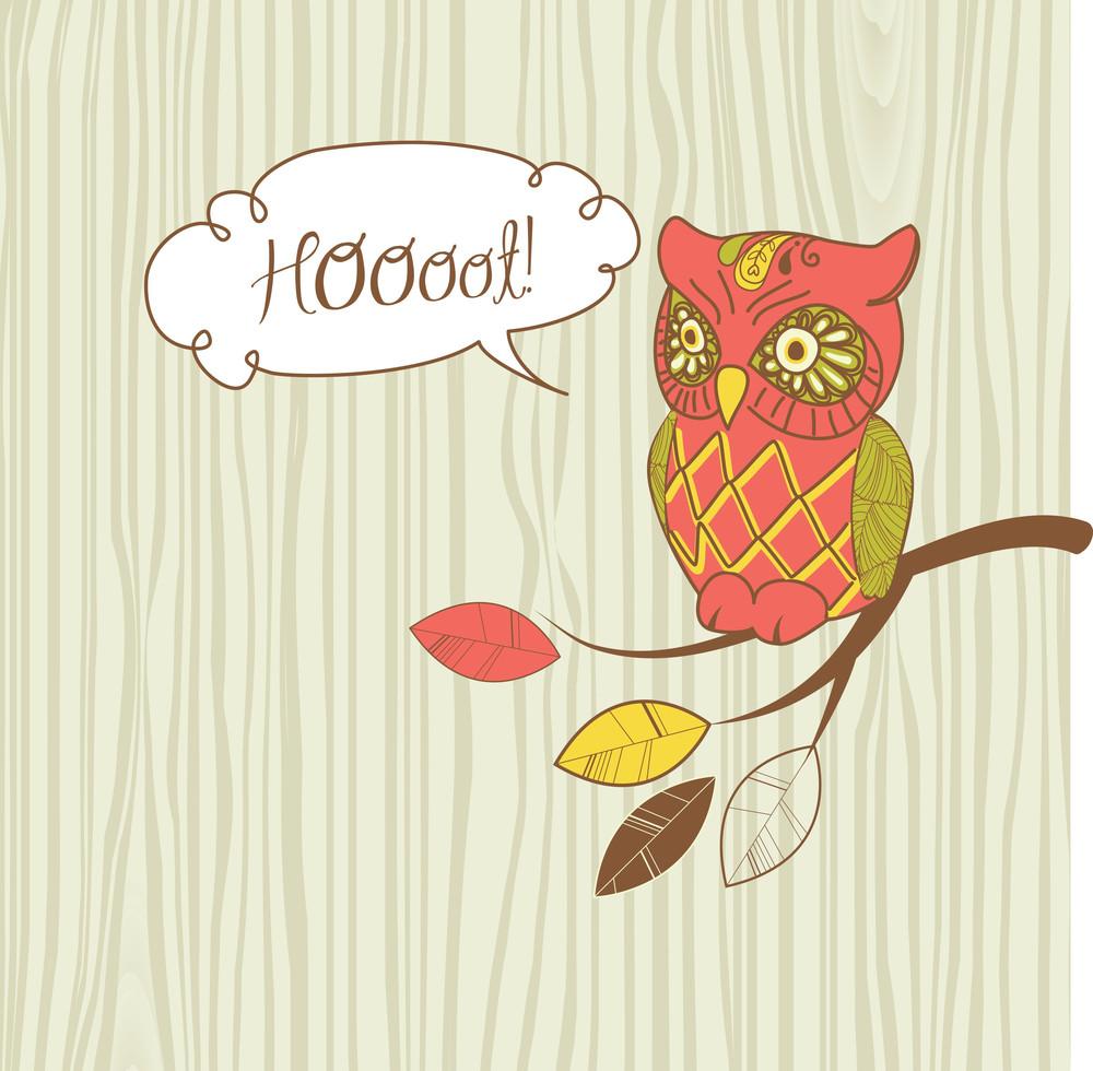 """Cute Vector Owl. """"hoot"""" Card"""