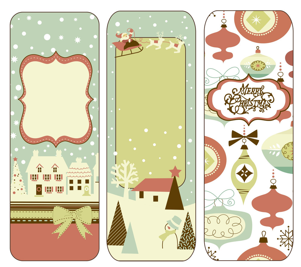 Cute Vertical Christmas Banners In Retro Style