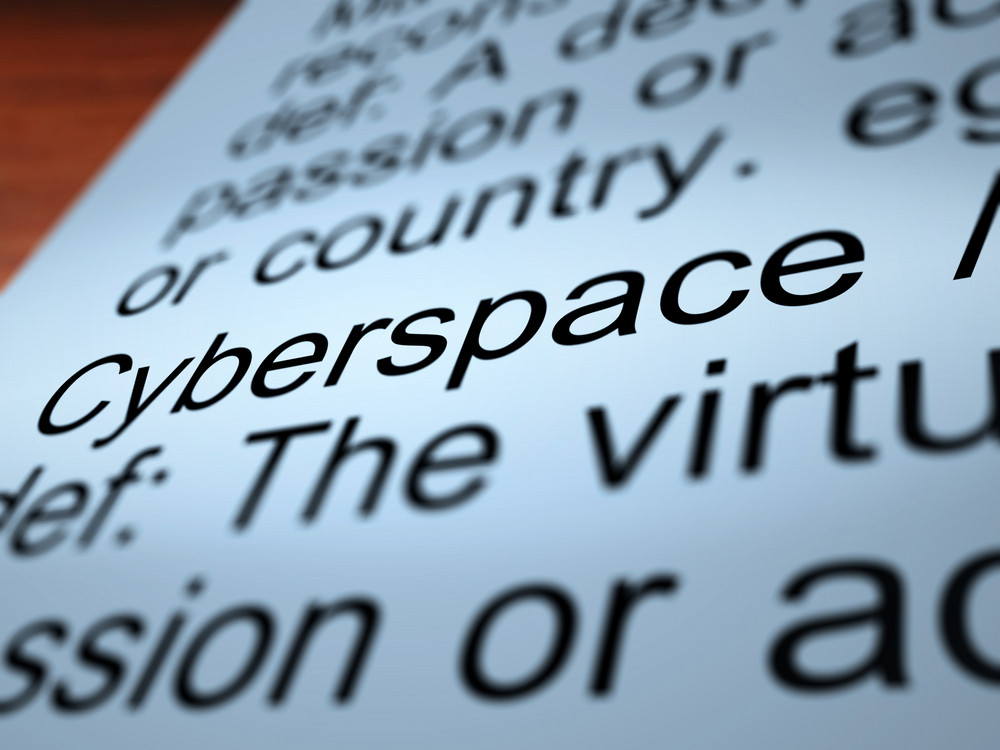 Cyberspace Definition Closeup Showing Online Networks