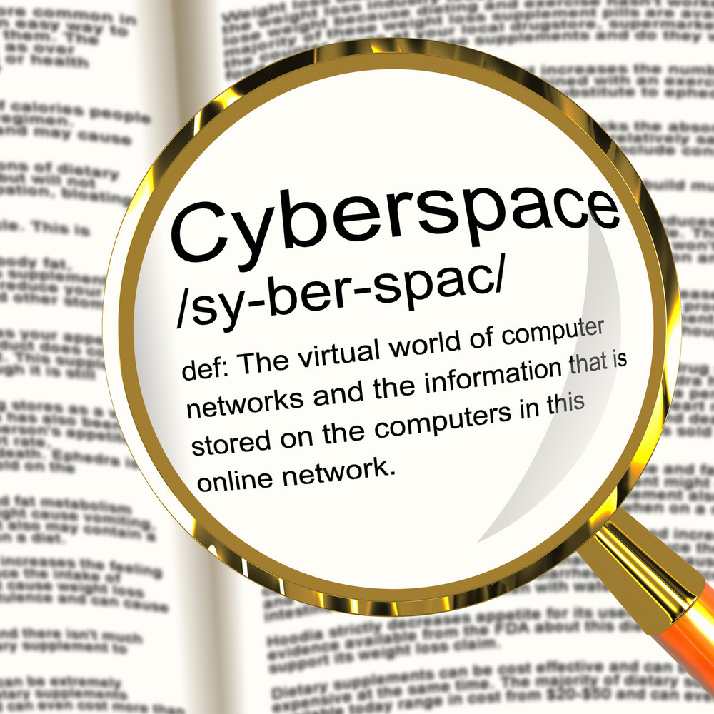 Cyberspace Definition Magnifier Showing Virtual World Of Online Networks