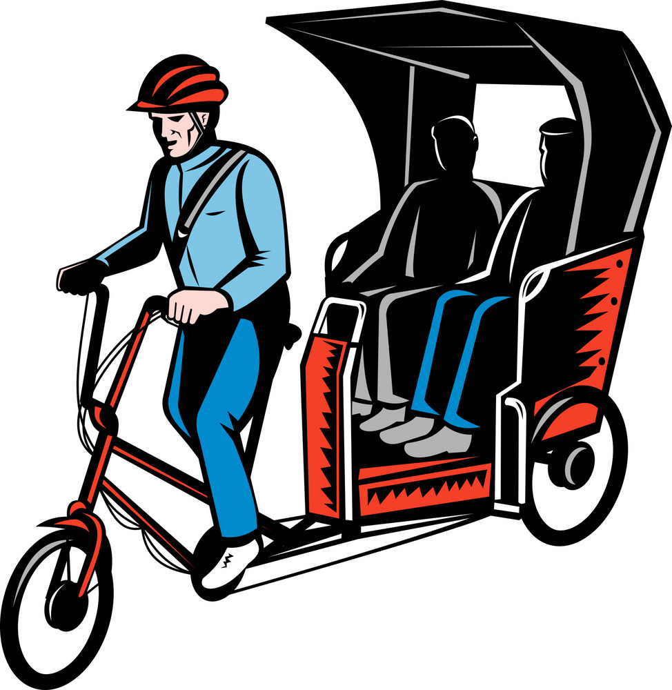 Cycle Rickshaw With Driver And Passenger
