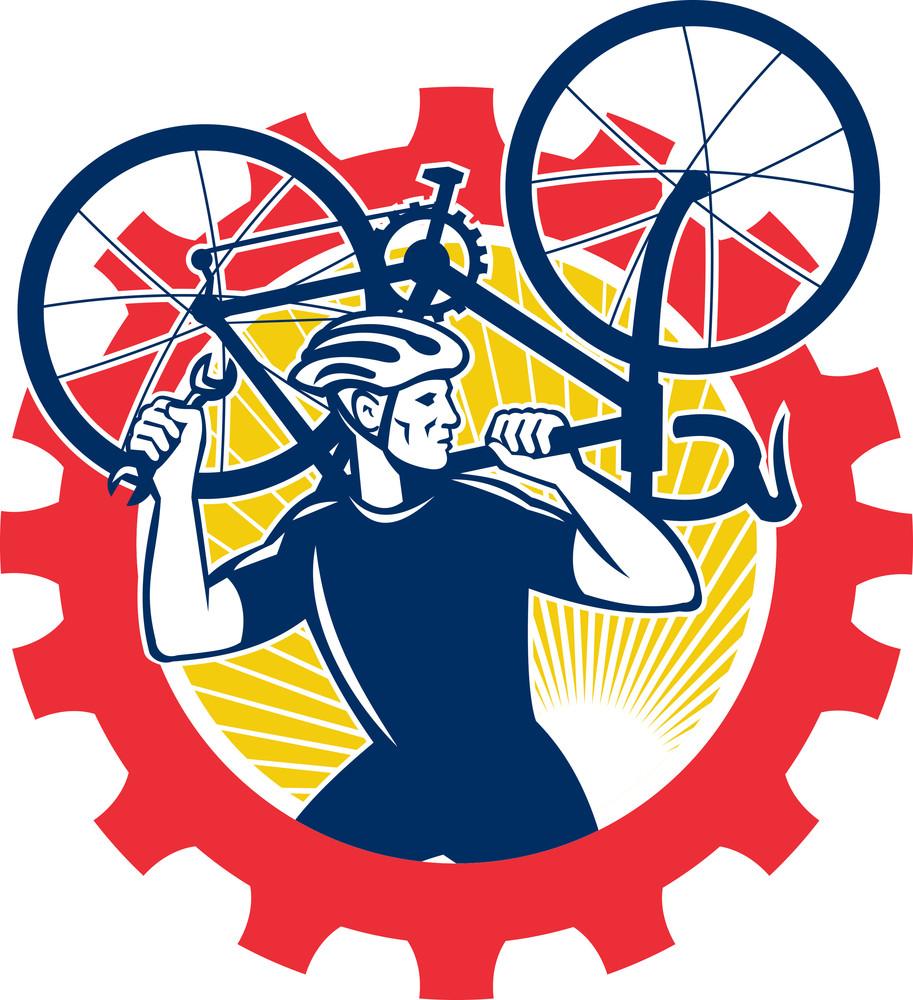 Cyclist Bicycle Mechanic Carrying Bike Sprocket Retro