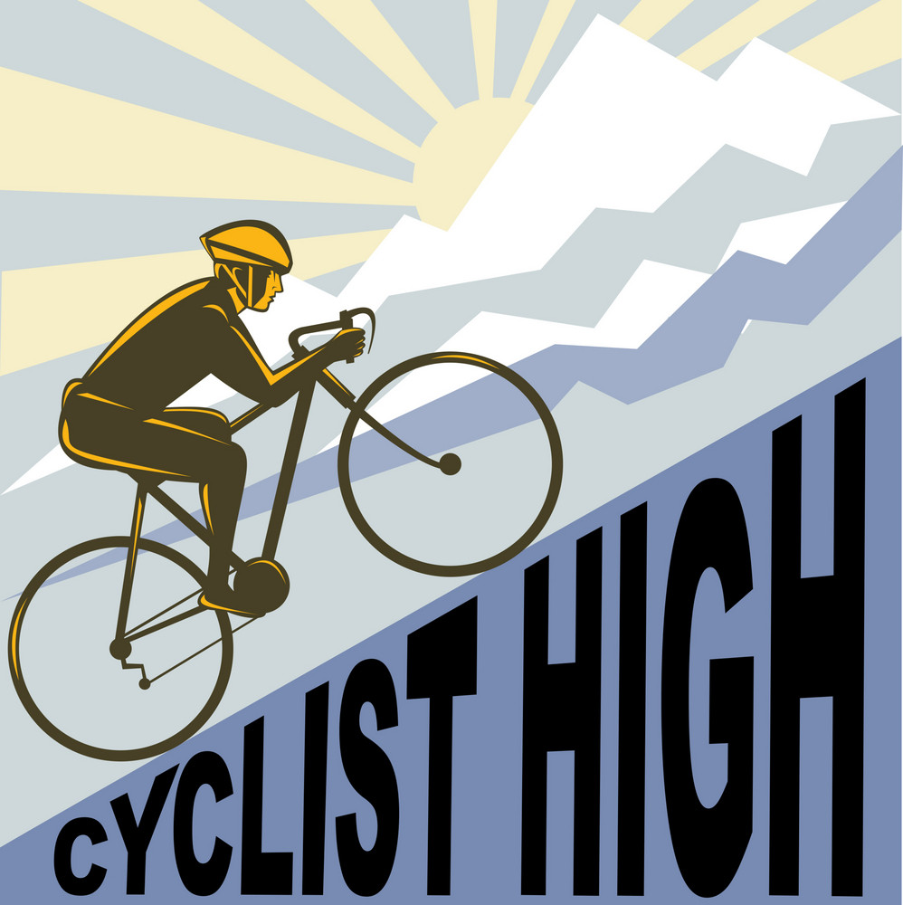 Cyclist Racing Bike Up Steep Mountain