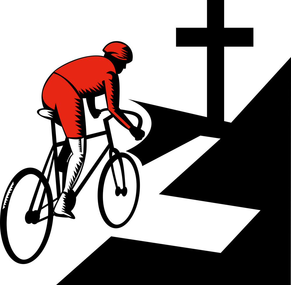 Cyclist Racing On Bicycle With Cross On Road
