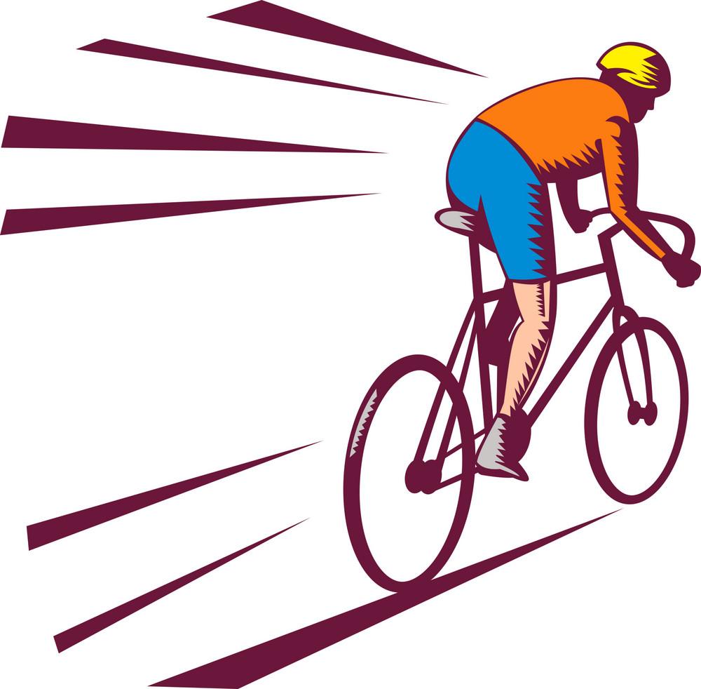 Cyclist Racing On Bicycle