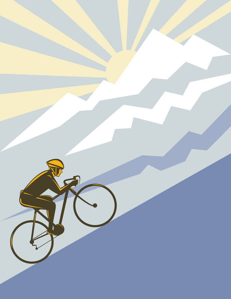 Cyclist Riding Bicycle Up Mountain