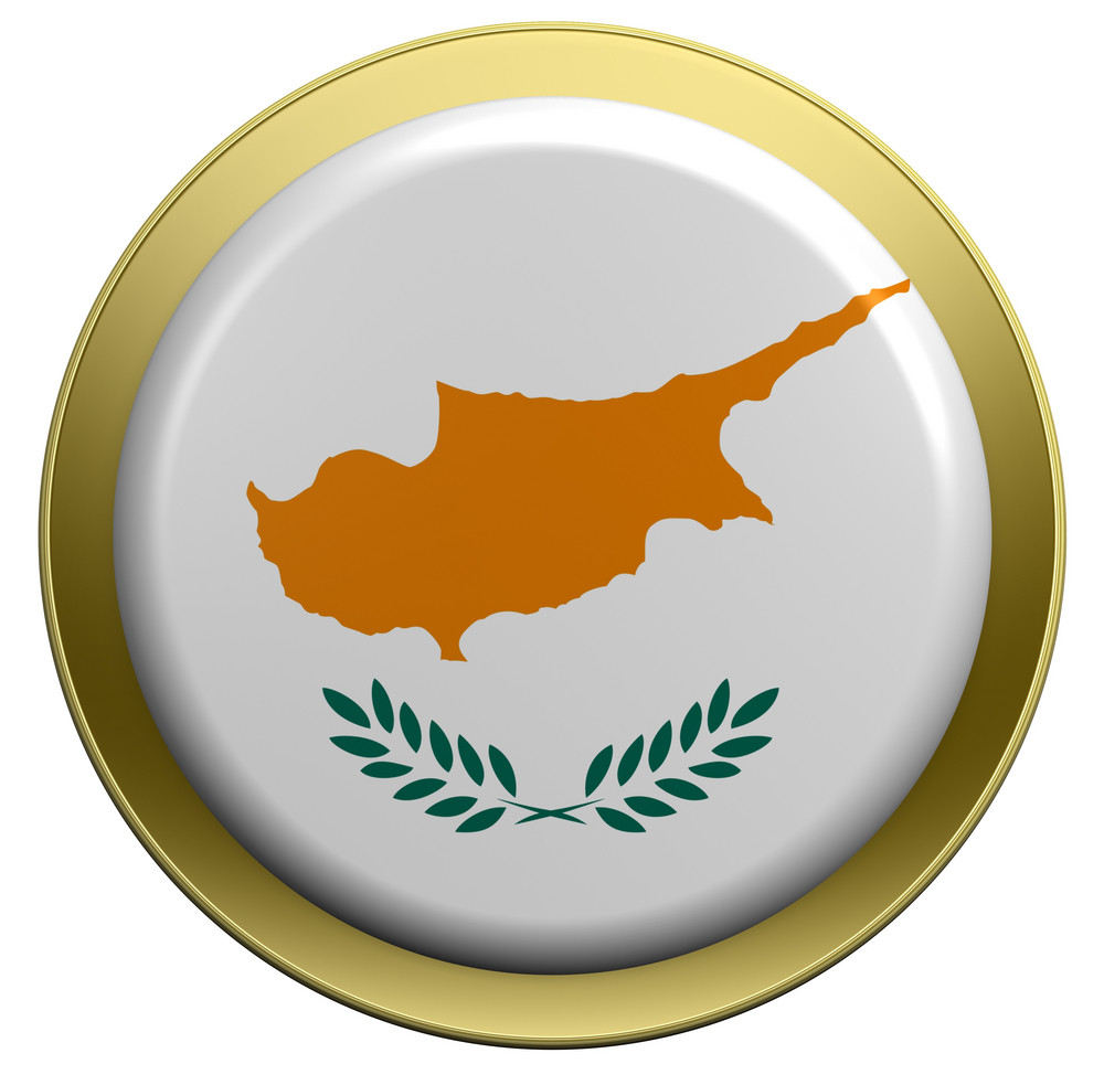 Cyprus Flag On The Round Button Isolated On White.